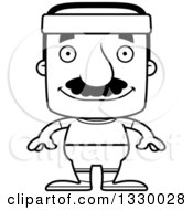 Lineart Clipart Of A Cartoon Black And White Happy Block Headed Fit Hispanic Man With A Mustache Royalty Free Outline Vector Illustration