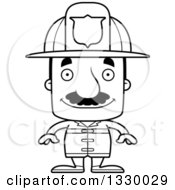 Lineart Clipart Of A Cartoon Black And White Happy Block Headed Hispanic Fire Man With A Mustache Royalty Free Outline Vector Illustration