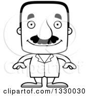 Cartoon Black And White Happy Block Headed Hispanic Doctor Man With A Mustache