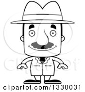 Lineart Clipart Of A Cartoon Black And White Happy Block Headed Hispanic Detective Man With A Mustache Royalty Free Outline Vector Illustration