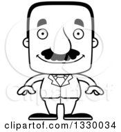 Lineart Clipart Of A Cartoon Black And White Happy Block Headed Hispanic Business Man With A Mustache Royalty Free Outline Vector Illustration