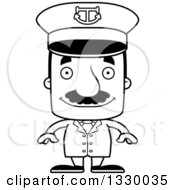 Lineart Clipart Of A Cartoon Black And White Happy Block Headed Hispanic Boat Captain Man With A Mustache Royalty Free Outline Vector Illustration