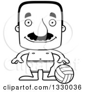 Lineart Clipart Of A Cartoon Black And White Happy Block Headed Hispanic Beach Volleyball Player Man With A Mustache Royalty Free Outline Vector Illustration