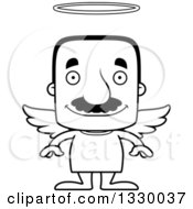 Lineart Clipart Of A Cartoon Black And White Happy Block Headed Hispanic Angel Man With A Mustache Royalty Free Outline Vector Illustration