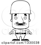 Lineart Clipart Of A Cartoon Black And White Happy Block Headed Hispanic Soldier Man With A Mustache Royalty Free Outline Vector Illustration