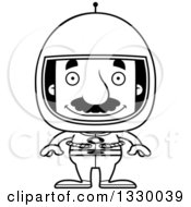Lineart Clipart Of A Cartoon Black And White Happy Block Headed Hispanic Astronaut Man With A Mustache Royalty Free Outline Vector Illustration