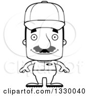 Lineart Clipart Of A Cartoon Black And White Happy Block Headed Hispanic Baseball Player Man With A Mustache Royalty Free Outline Vector Illustration