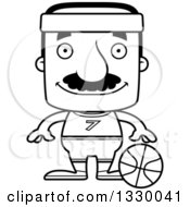 Lineart Clipart Of A Cartoon Black And White Happy Block Headed Hispanic Basketball Player Man With A Mustache Royalty Free Outline Vector Illustration
