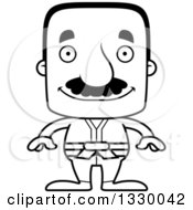 Lineart Clipart Of A Cartoon Black And White Happy Block Headed Hispanic Karate Man With A Mustache Royalty Free Outline Vector Illustration