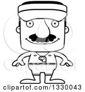Lineart Clipart Of A Cartoon Black And White Happy Block Headed Hispanic Lifeguard Man With A Mustache Royalty Free Outline Vector Illustration