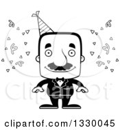 Lineart Clipart Of A Cartoon Black And White Happy Block Headed Hispanic Party Man With A Mustache Royalty Free Outline Vector Illustration
