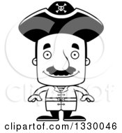 Lineart Clipart Of A Cartoon Black And White Happy Block Headed Hispanic Pirate Man With A Mustache Royalty Free Outline Vector Illustration