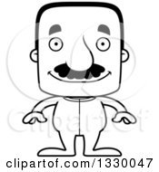 Lineart Clipart Of A Cartoon Black And White Happy Block Headed Hispanic Man With A Mustache Wearing Pajamas Royalty Free Outline Vector Illustration