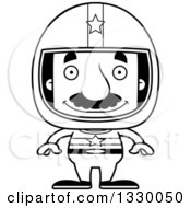 Lineart Clipart Of A Cartoon Black And White Happy Block Headed Hispanic Race Car Driver Man With A Mustache Royalty Free Outline Vector Illustration
