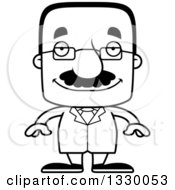 Lineart Clipart Of A Cartoon Black And White Happy Block Headed Hispanic Scientist Man With A Mustache Royalty Free Outline Vector Illustration