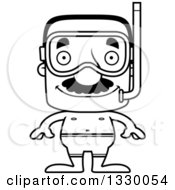 Lineart Clipart Of A Cartoon Black And White Happy Block Headed Hispanic Snorkel Man With A Mustache Royalty Free Outline Vector Illustration