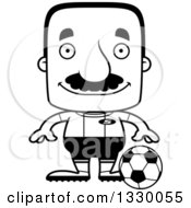 Lineart Clipart Of A Cartoon Black And White Happy Block Headed Hispanic Soccer Player Man With A Mustache Royalty Free Outline Vector Illustration