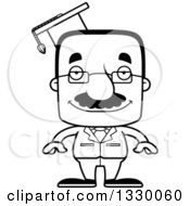 Lineart Clipart Of A Cartoon Black And White Happy Block Headed Hispanic Professor Man With A Mustache Royalty Free Outline Vector Illustration