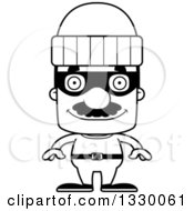 Lineart Clipart Of A Cartoon Black And White Happy Block Headed Hispanic Robber Man With A Mustache Royalty Free Outline Vector Illustration