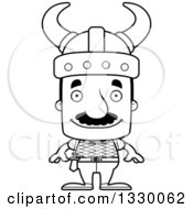 Lineart Clipart Of A Cartoon Black And White Happy Block Headed Hispanic Viking Man With A Mustache Royalty Free Outline Vector Illustration