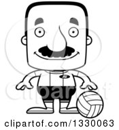 Lineart Clipart Of A Cartoon Black And White Happy Block Headed Hispanic Volleyball Player Man With A Mustache Royalty Free Outline Vector Illustration
