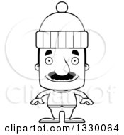 Lineart Clipart Of A Cartoon Black And White Happy Block Headed Hispanic Man With A Mustache In Winter Clothes Royalty Free Outline Vector Illustration