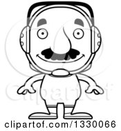 Lineart Clipart Of A Cartoon Black And White Happy Block Headed Hispanic Wrestler Man With A Mustache Royalty Free Outline Vector Illustration