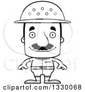 Lineart Clipart Of A Cartoon Black And White Happy Block Headed Hispanic Zookeeper Man With A Mustache Royalty Free Outline Vector Illustration