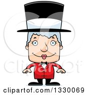 Clipart Of A Cartoon Happy Block Headed White Senior Woman Circus Ringmaster Royalty Free Vector Illustration