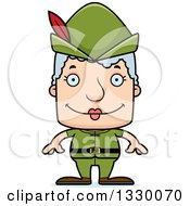 Clipart Of A Cartoon Happy Block Headed White Robin Hood Senior Woman Royalty Free Vector Illustration