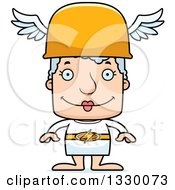 Clipart Of A Cartoon Happy Block Headed White Senior Woman Hermes Royalty Free Vector Illustration