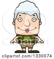 Clipart Of A Cartoon Happy Block Headed White Senior Woman Hiker Royalty Free Vector Illustration