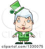 Clipart Of A Cartoon Happy Block Headed White Irish St Patricks Day Senior Woman Royalty Free Vector Illustration