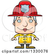 Clipart Of A Cartoon Happy Block Headed White Senior Woman Firefighter Royalty Free Vector Illustration by Cory Thoman