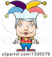 Clipart Of A Cartoon Happy Block Headed White Senior Woman Jester Royalty Free Vector Illustration by Cory Thoman
