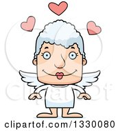 Clipart Of A Cartoon Happy Block Headed White Senior Woman Cupid Royalty Free Vector Illustration