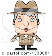 Clipart Of A Cartoon Happy Block Headed White Senior Woman Detective Royalty Free Vector Illustration