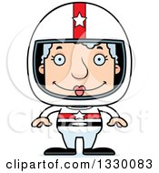 Clipart Of A Cartoon Happy Block Headed White Senior Woman Race Car Driver Royalty Free Vector Illustration
