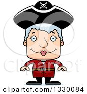 Clipart Of A Cartoon Happy Block Headed White Pirate Senior Woman Royalty Free Vector Illustration