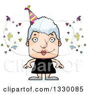 Clipart Of A Cartoon Happy Block Headed White Party Senior Woman Royalty Free Vector Illustration