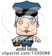 Clipart Of A Cartoon Happy Block Headed White Senior Mail Woman Royalty Free Vector Illustration by Cory Thoman