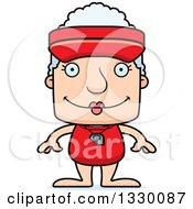 Clipart Of A Cartoon Happy Block Headed White Senior Woman Lifeguard Royalty Free Vector Illustration