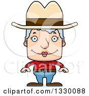 Clipart Of A Cartoon Happy Block Headed White Senior Woman Cowgirl Royalty Free Vector Illustration by Cory Thoman