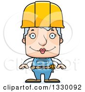 Clipart Of A Cartoon Happy Block Headed White Senior Woman Construction Worker Royalty Free Vector Illustration