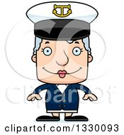 Clipart Of A Cartoon Happy Block Headed White Senior Woman Boat Captain Royalty Free Vector Illustration