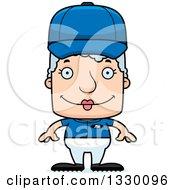 Poster, Art Print Of Cartoon Happy Block Headed White Senior Woman Baseball Player
