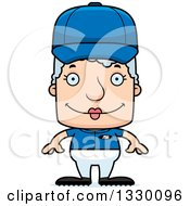Clipart Of A Cartoon Happy Block Headed White Senior Woman Baseball Player Royalty Free Vector Illustration