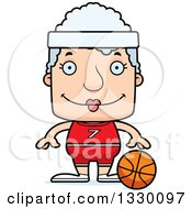 Clipart Of A Cartoon Happy Block Headed White Senior Woman Basketball Player Royalty Free Vector Illustration by Cory Thoman