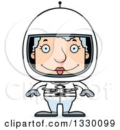 Clipart Of A Cartoon Happy Block Headed White Senior Woman Astronaut Royalty Free Vector Illustration by Cory Thoman