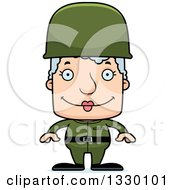 Clipart Of A Cartoon Happy Block Headed White Senior Woman Soldier Royalty Free Vector Illustration